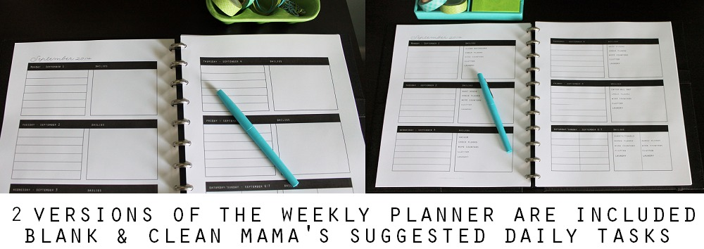 2 Versions of the Weekly Planner are Included via Clean Mama