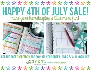 Clean Mama Printables 30 OFF 4th of July Sale
