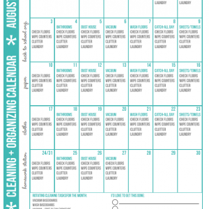 FREE Cleaning + Organizing Calendar for August via Clean Mama