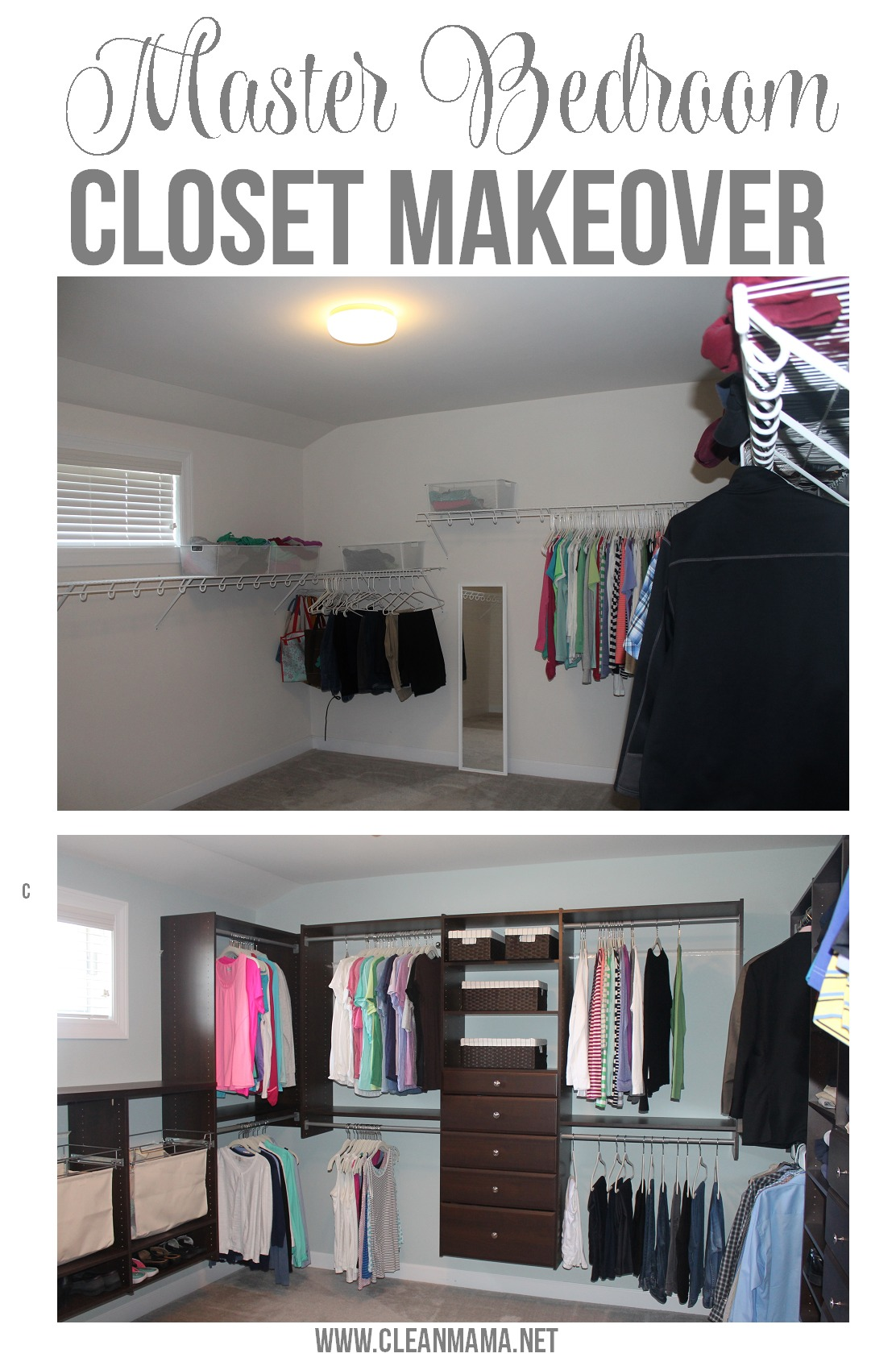 Master Bedroom Master Bedroom Closet Makeover via Clean Mama