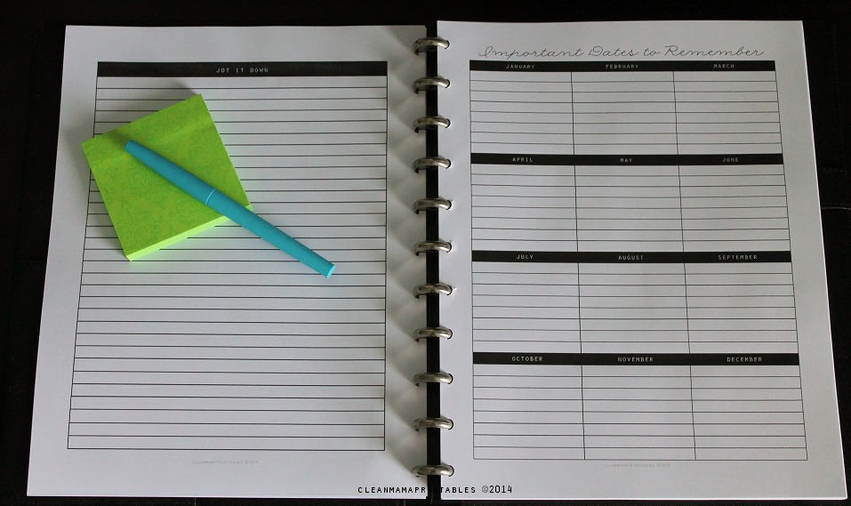 Notes page and Important Dates to Remember - Clean Mama's Everyday Planner
