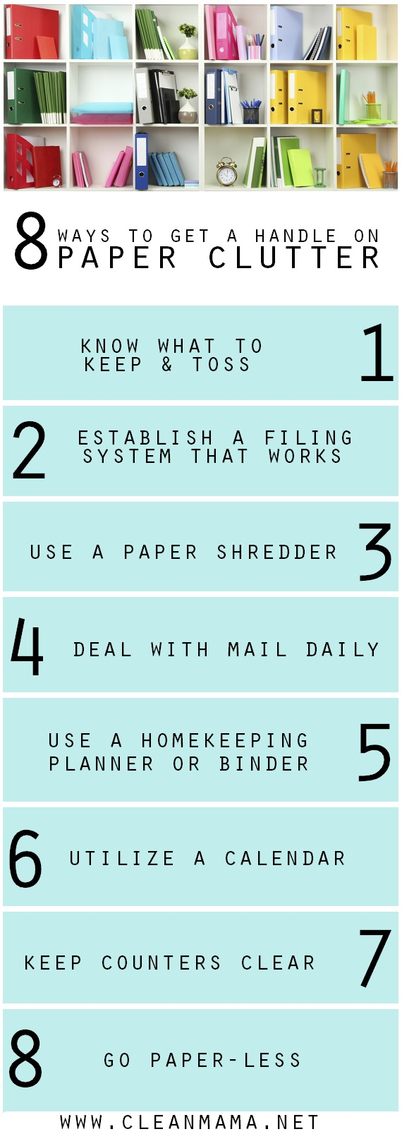 8 Ways to Get a Handle on Paper Clutter for Good via Clean Mama