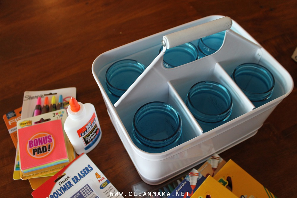 Add Canning Jars to the Compartments to Keep Supplies Separated via Clean Mama
