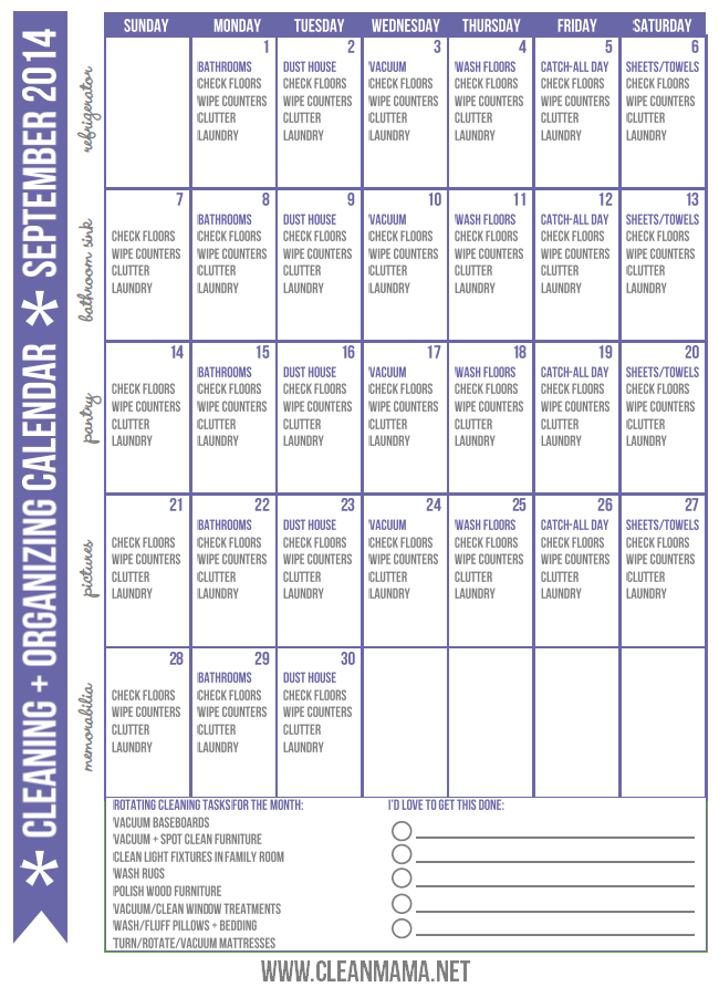 Cleaning + Organizing Calendar - September 2014 Courtesy of Clean Mama