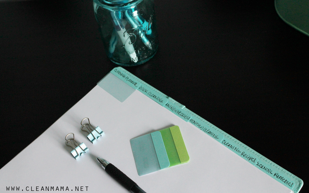 Dividers in a Cleaning Planner via Clean Mama