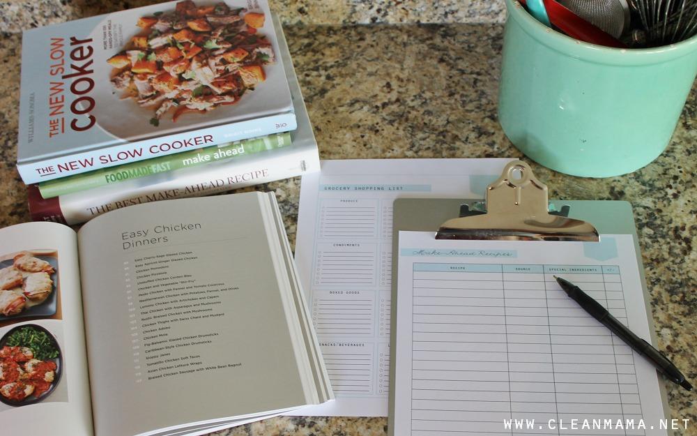 FREE Make-Ahead Recipe List via Clean Mama