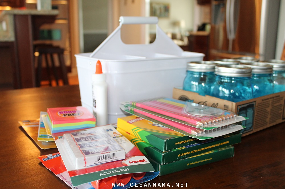 Gather School Supplies to Make a Homework Caddy