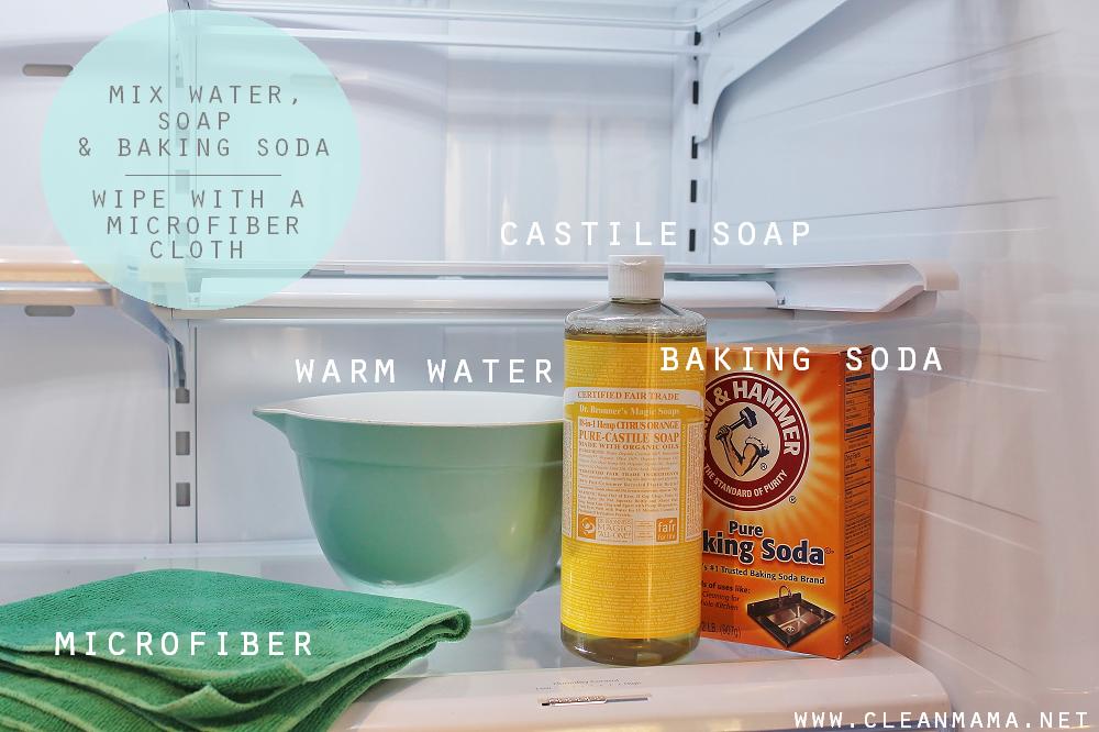 Ingredients to Clean Refrigerator via Clean Mama