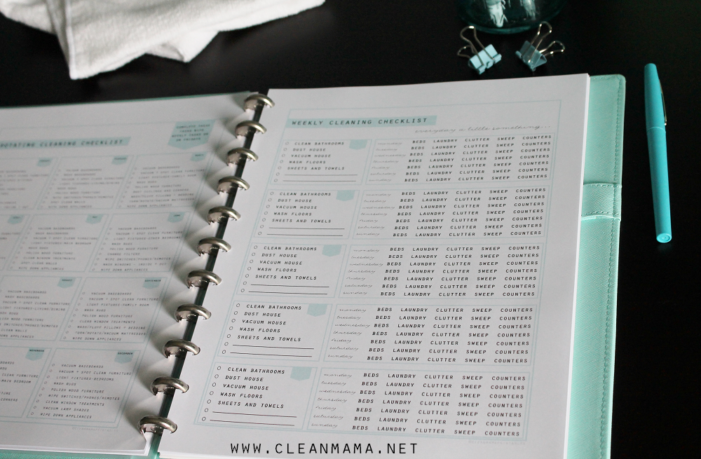 Weekly Cleaning Checklists via Clean Mama