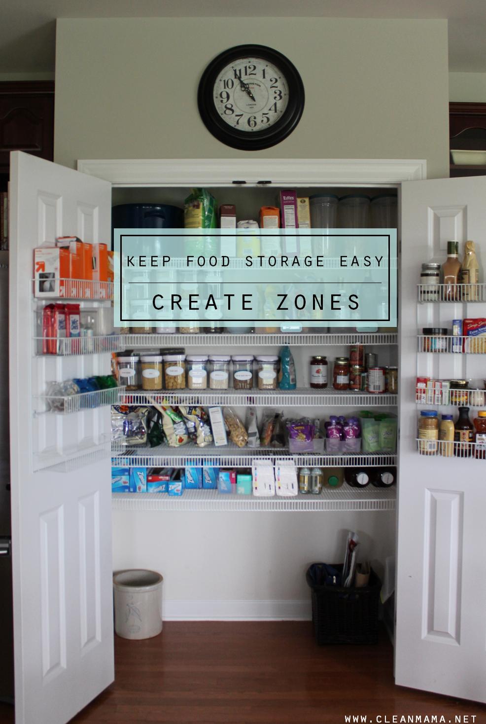 Keep Food Storage Easy - Create Zones - Clean Mama