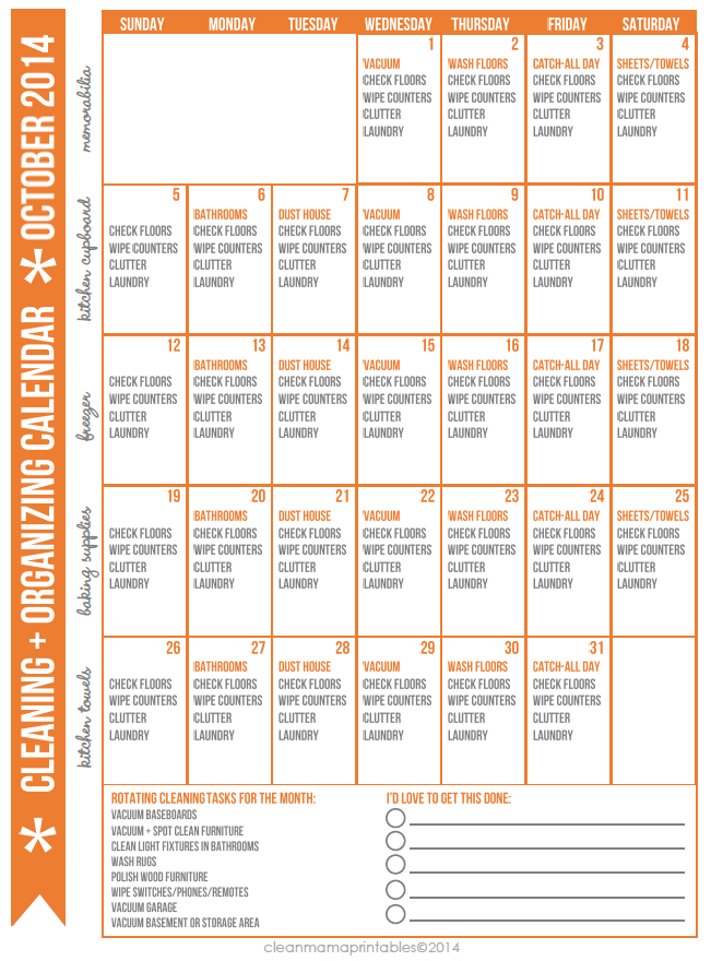October 2014 Cleaning and Organizing Calendar via Clean Mama