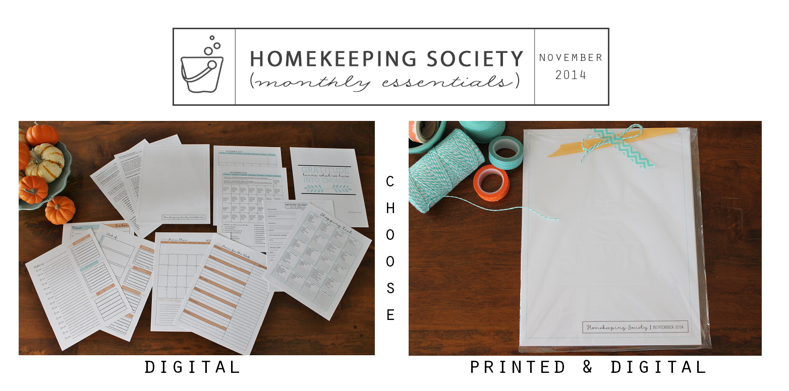 Homekeeping Society November 2014 2 Versions via Clean Mama