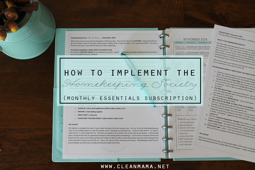 How to Implement the Homekeeping Society via Clean Mama