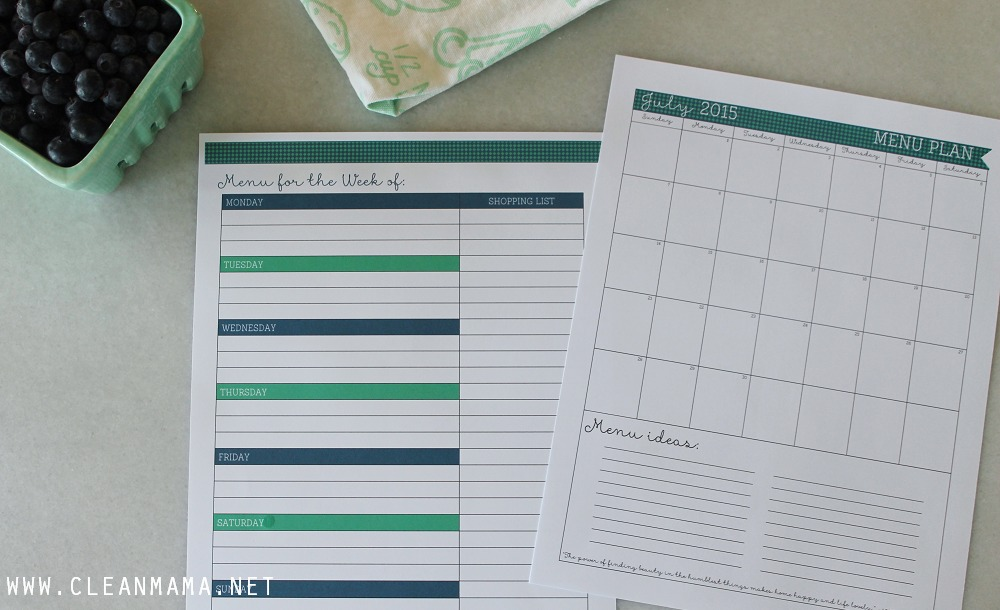 Menu Planning - July Homekeeping Society - Clean Mama