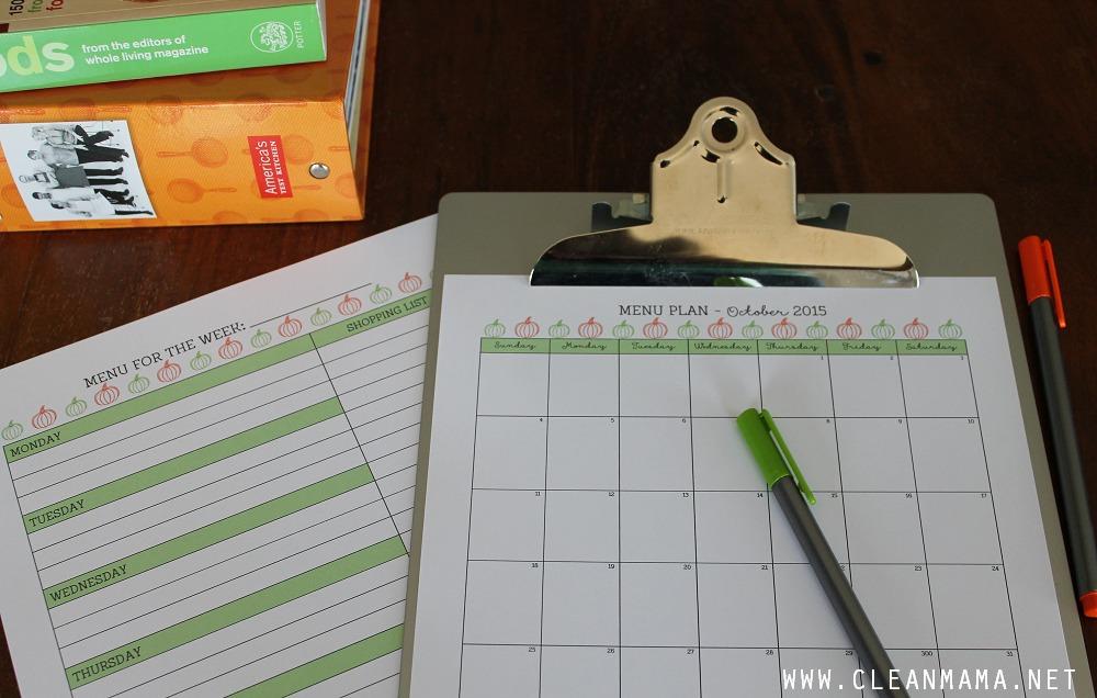 Menu Planning - October Homekeeping Society via Clean Mama