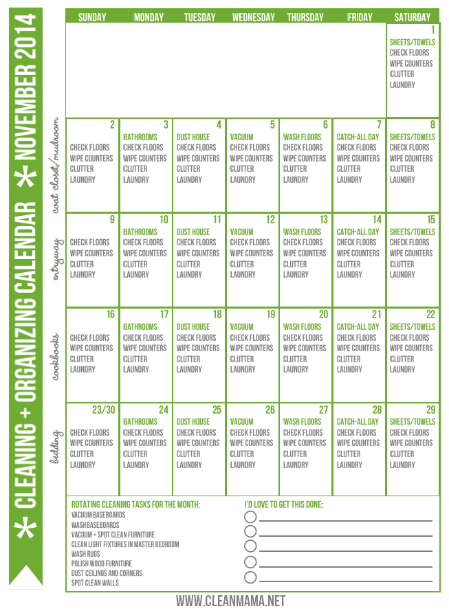 November 2014 FREE Cleaning and Organizing Calendar via Clean Mama