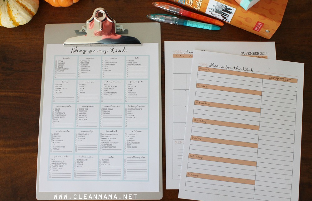 Shopping List and Menu Plan - Homekeeping Society - November 2014