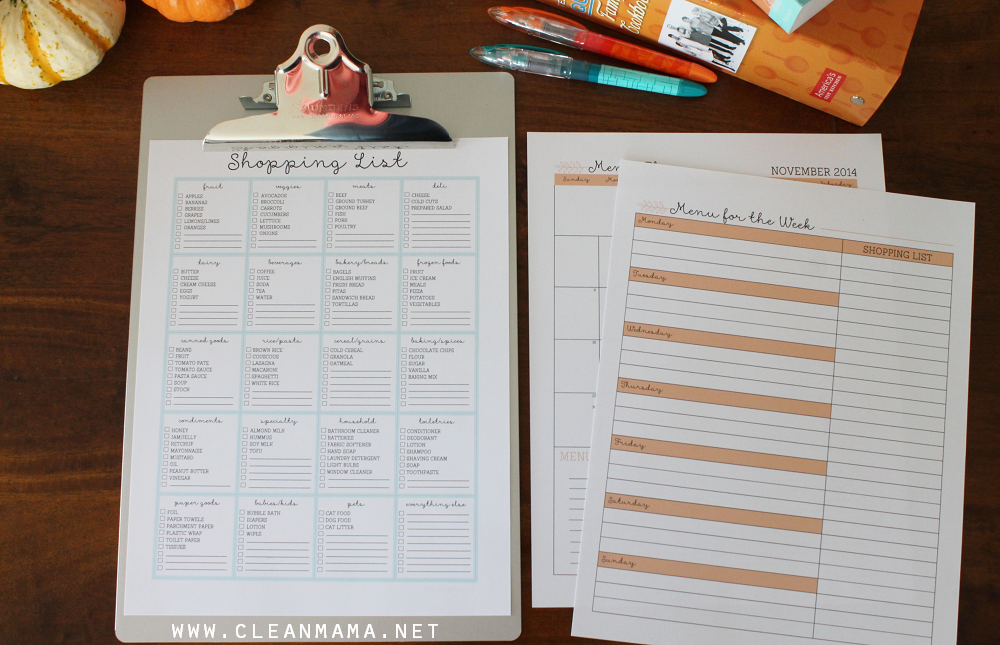 Shopping List and Menu Plan - Homekeeping Society - November 2014
