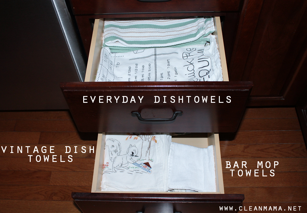 Simple Organization for Kitchen Towels via Clean Mama