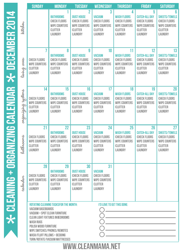 December 2014 Clean + Organized Calendar via Clean Mama