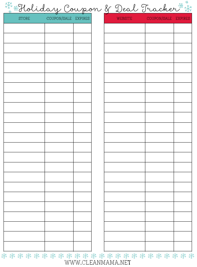 Holiday Coupon + Deal Tracker Courtesy of Clean Mama