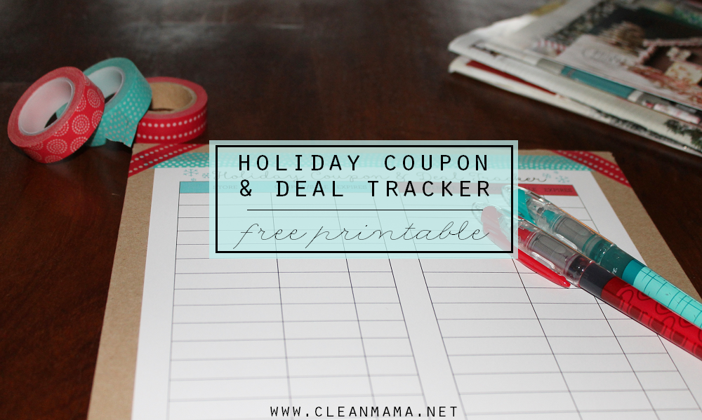 Holiday Coupon and Deal Tracker FREE PRINTABLE  via Clean Mama