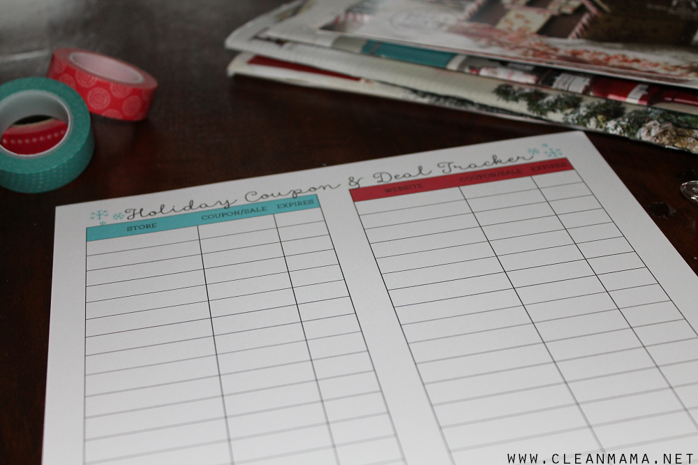 Holiday Coupon and Deal Tracker via Clean Mama