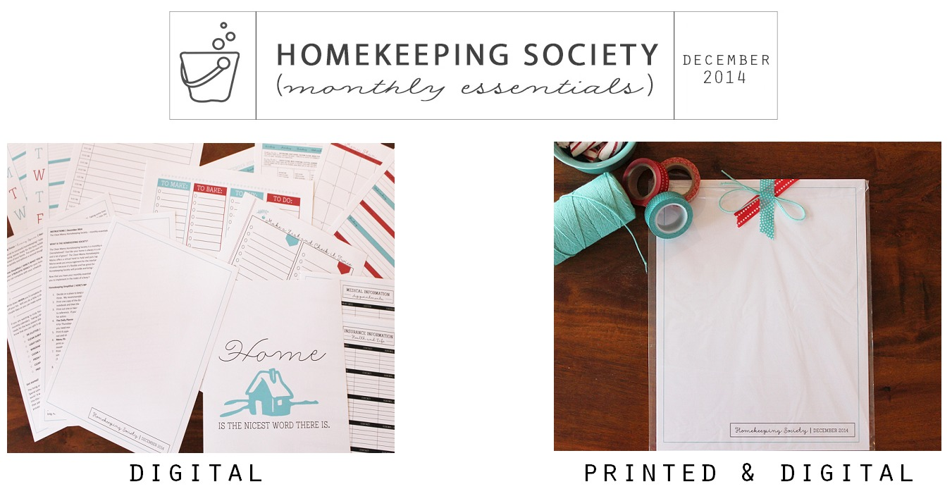 Homekeeping Society December 2014 Digital and Printed for You via Clean Mama