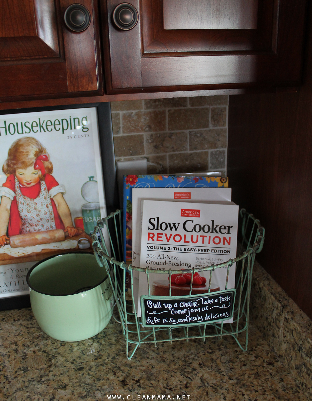 Keep a basket or container with a couple cookbooks you want to use  to keep them accessible via Clean Mama