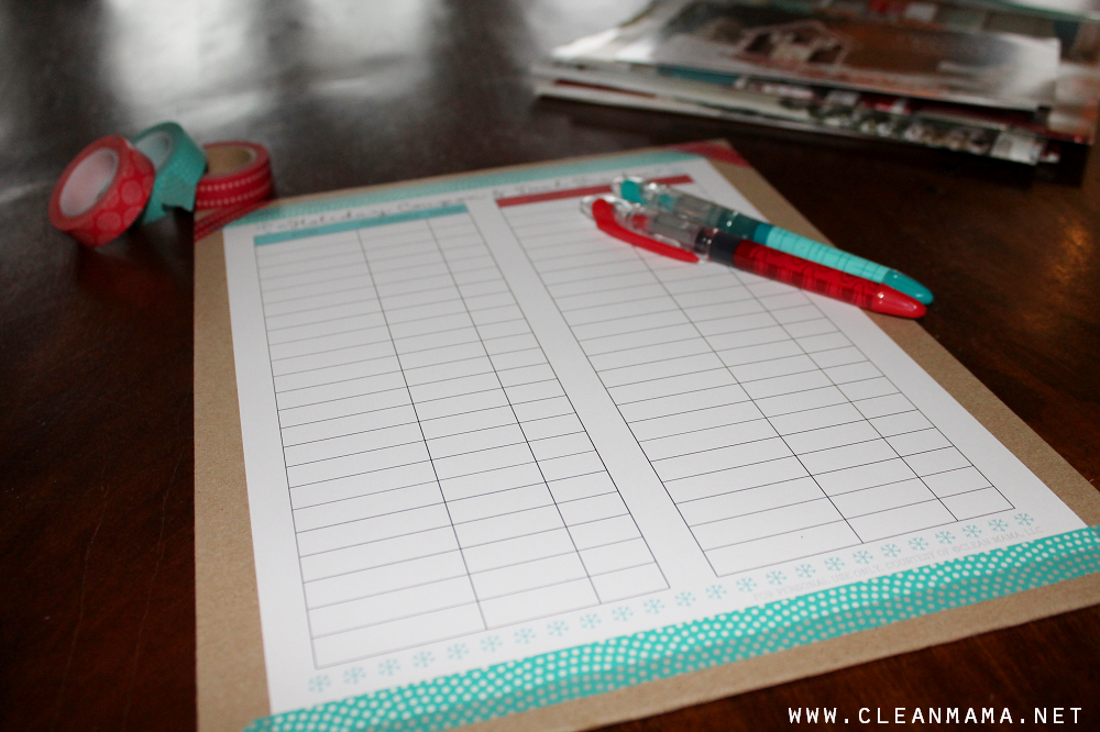 Print and Tape Holiday Coupon and Deal Tracker on an Envelope via Clean Mama