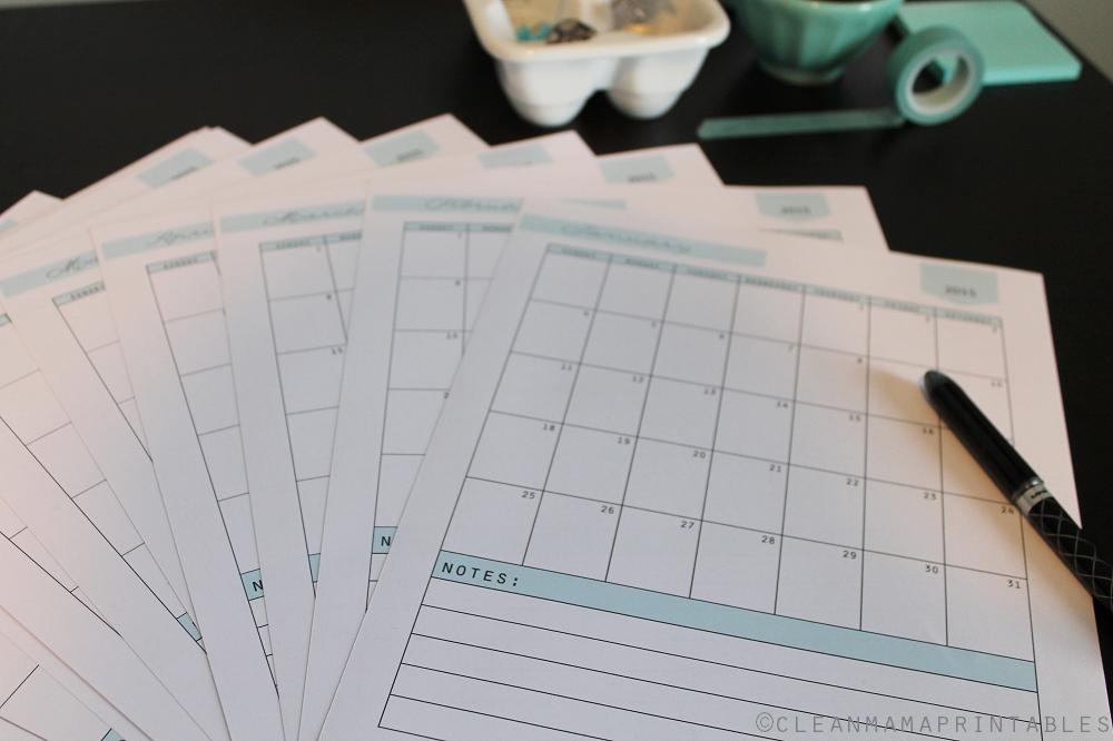 2015 Everyday Calendar - Clean Mama Printables