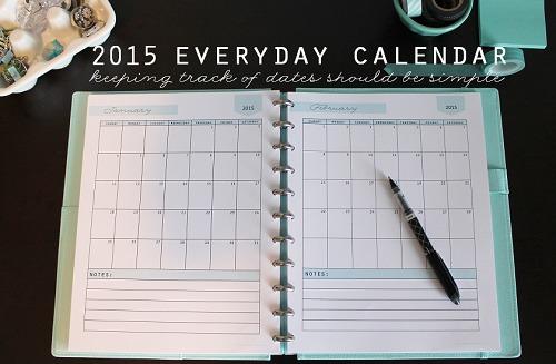 2015 Everyday Calendar small - Clean Mama Printables