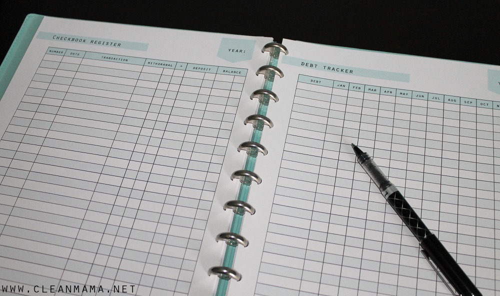 checkbook register and debt tracker via clean mama clean mama