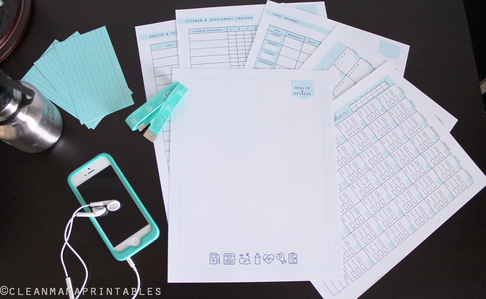 Everyday Health + Fitness Kit full - Clean Mama Printables