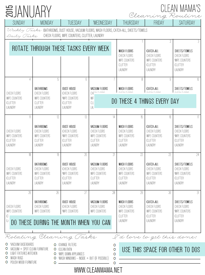 January 2015 Cleaning Routine Infographic - Clean Mama
