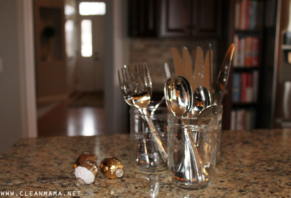 Put Silverware in Mason Jars for Easy Access via Clean Mama