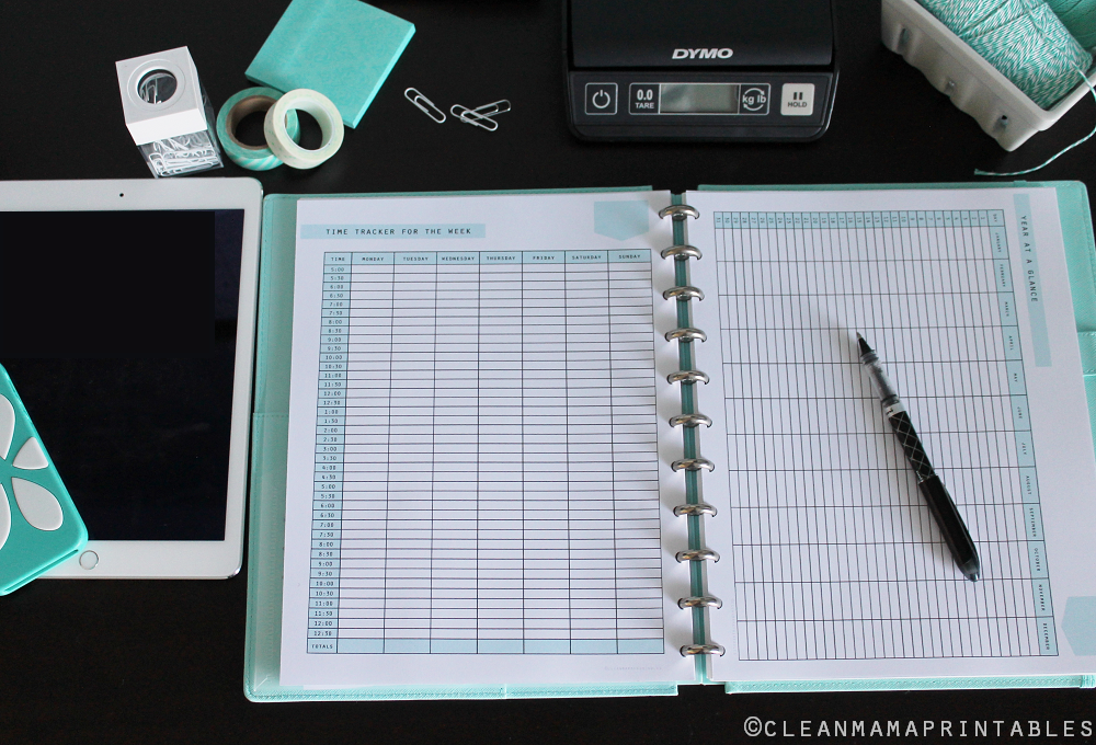 Time Tracker and Year at a Glance - Clean Mama Printables
