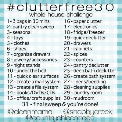 Free cleaning calendar for january 2015 bonus declutter for Declutter house plan