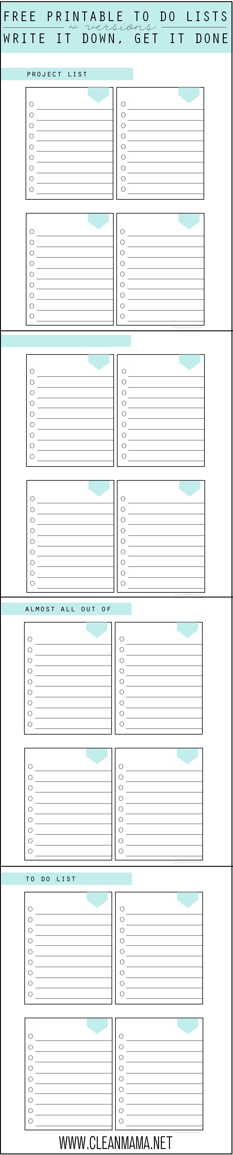 4 FREE Printable To Do Lists via Clean Mama