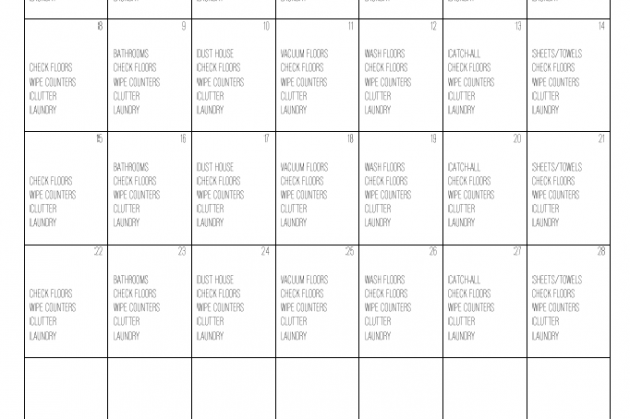 FREE Printable Cleaning Calendar for February 2015 via Clean Mama
