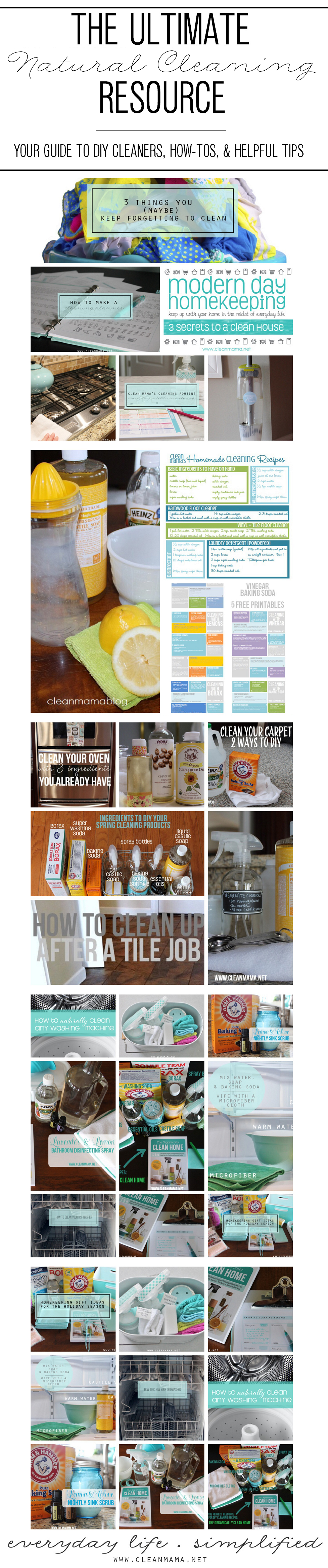 The Ultimate Natural Cleaning Resource - Your Guide to DIY Cleaners, How-Tos, and Helpful Tips via Clean Mama