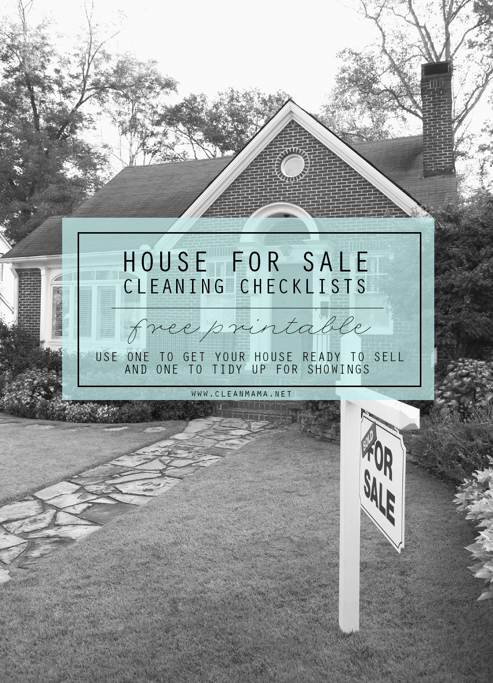 House for Sale Cleaning Checklists - free printable - via Clean Mama