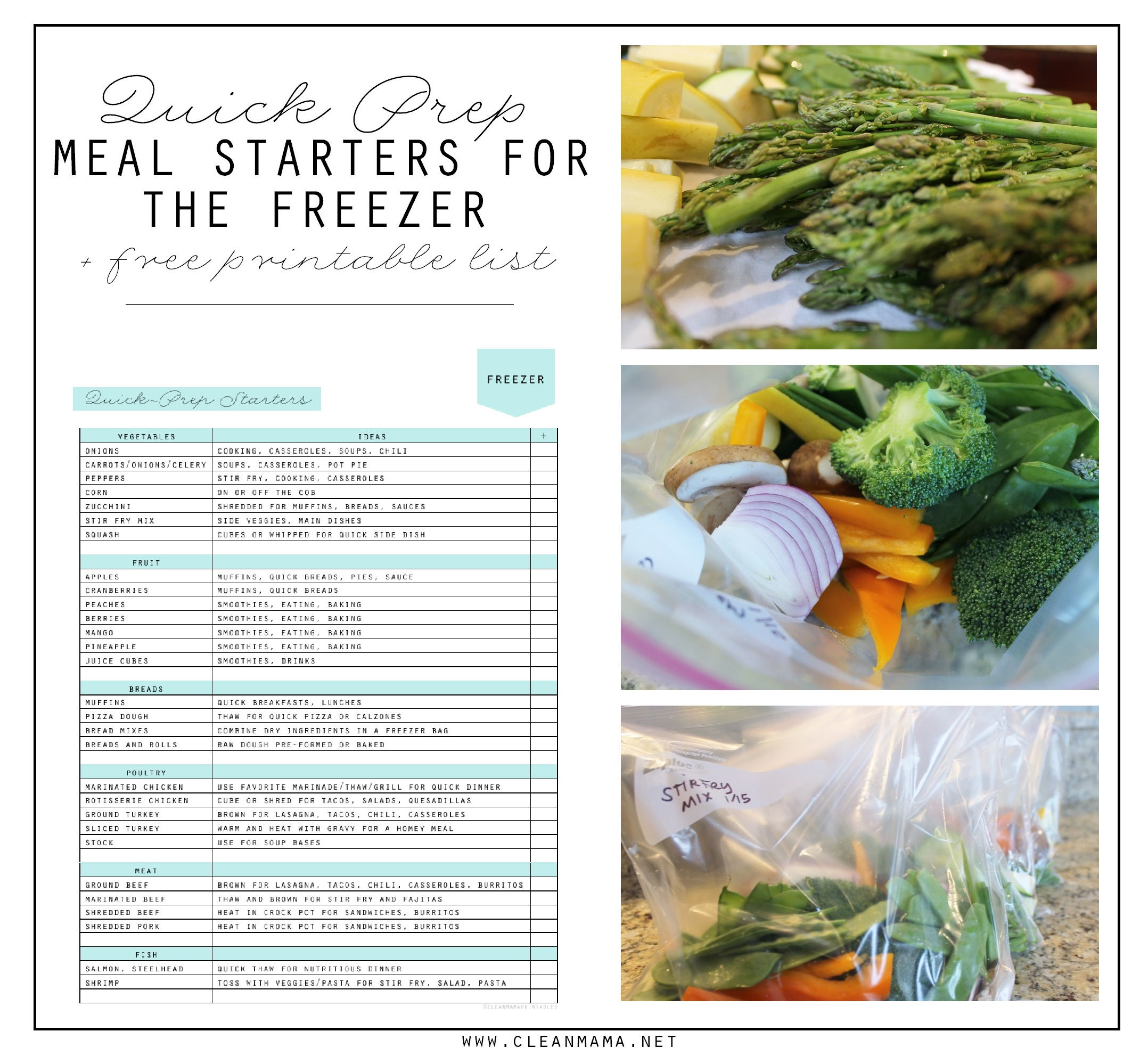 Quick Prep Meal Starters for the Freezer + Free Printable List via Clean Mama