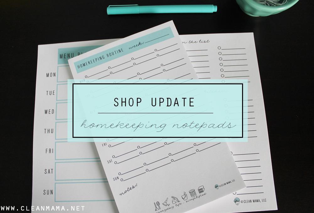 Shop Update - Homekeeping Notepads - Clean Mama