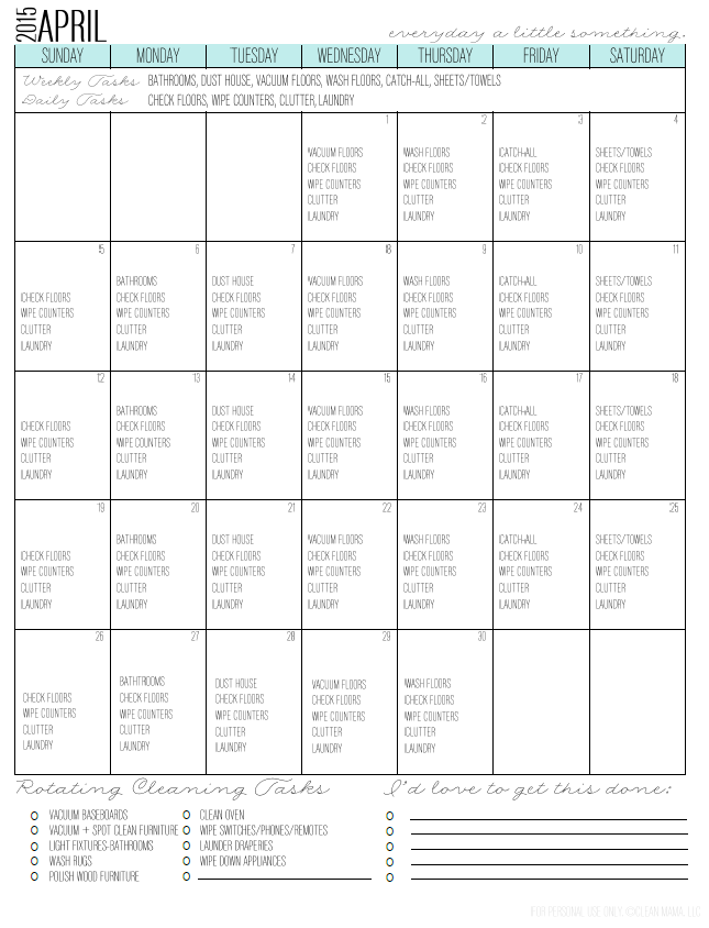 Free Cleaning Calendar from Clean Mama