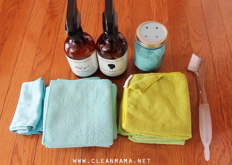 Supplies for Bathroom Cleaning via Clean Mama