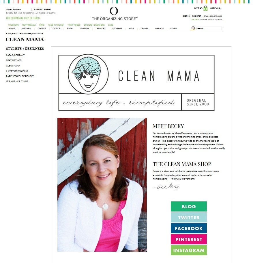 Clean Mama on the Organizing Store