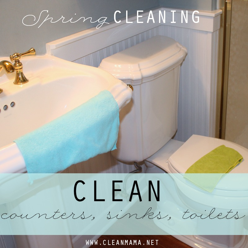 DAY 22 Clean counters, sinks, toilets via Clean Mama