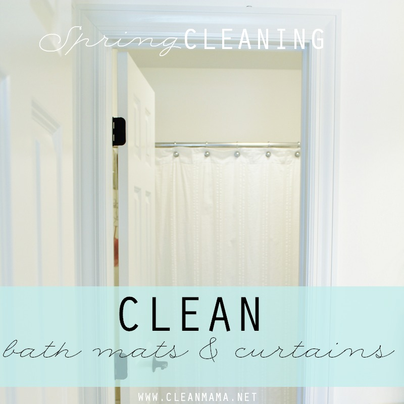 DAY 23 Wash bath mats and shower curtains via Clean Mama
