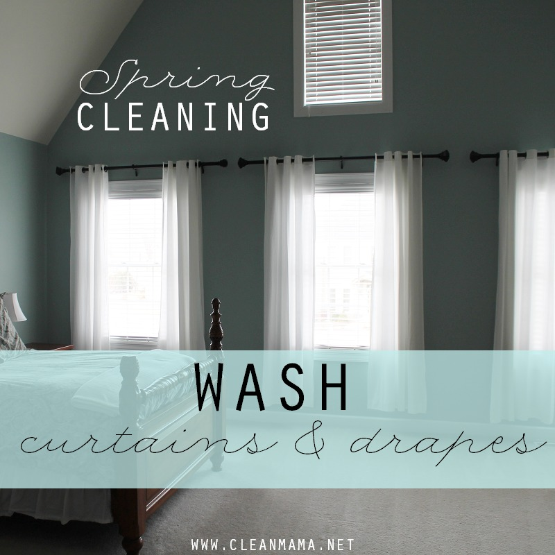 DAY 26 Wash Curtains + Drapes via Clean Mama